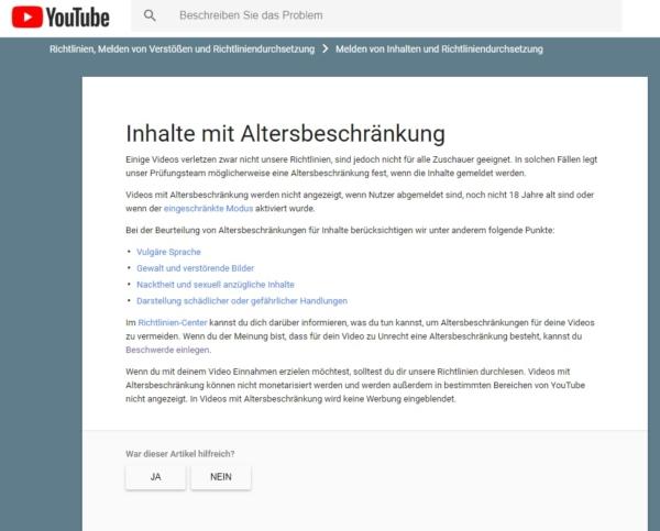 Mit diesem Schrieb rechtfertigt Youtube alles. Wiederspruch zwecklos.